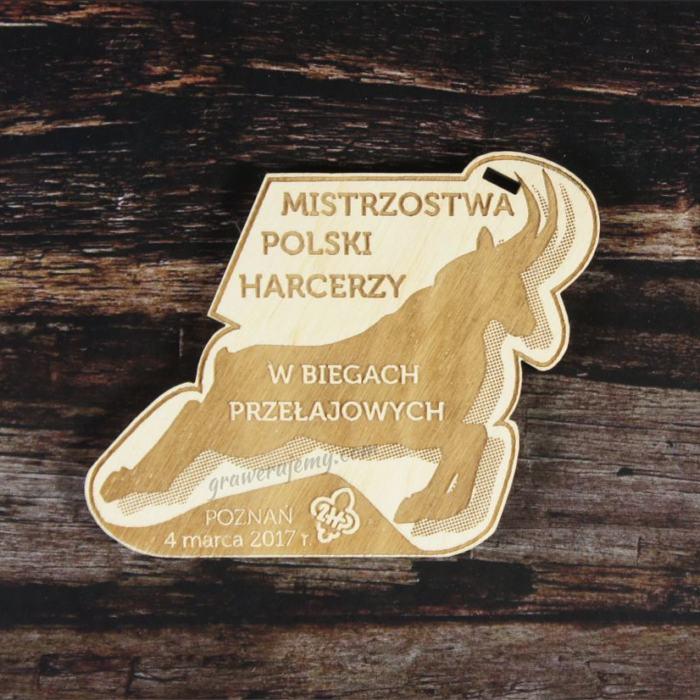 Medal drewniany 114. Mistrzostwa Polski Harcerzy w biegach przełajowych