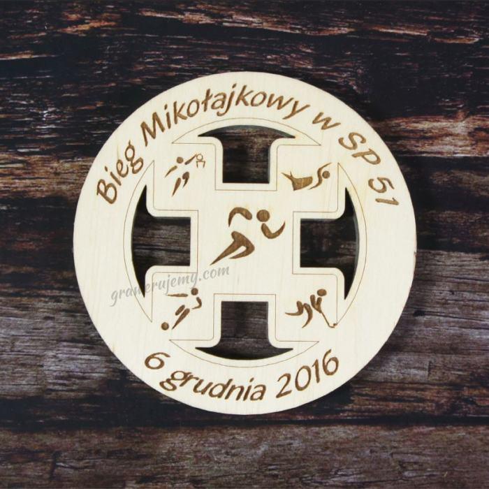 Medal drewniany Bieg Mikołajkowy