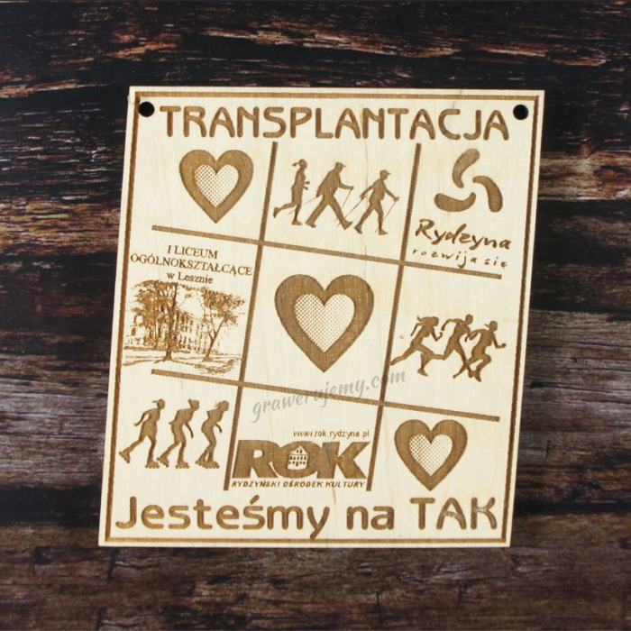 Medal drewniany 148. Jesteśmy na tak Transplantacja