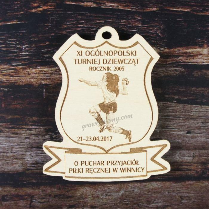 Medal drewniany 155. Turniej piłki ręcznej dziewcząt