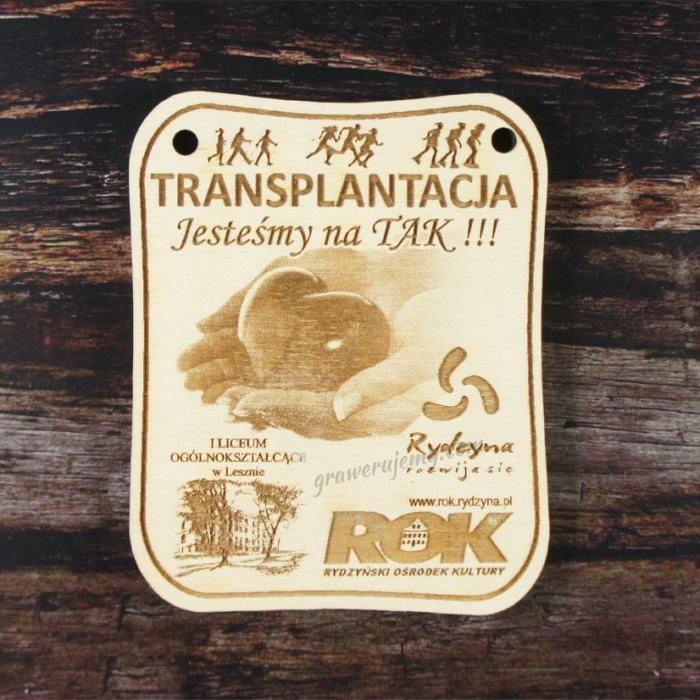 Medal drewniany 165. Jesteśmy na tak Transplantacja