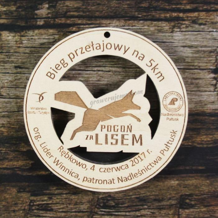 Medal drewniany 196 - pogoń za lisem