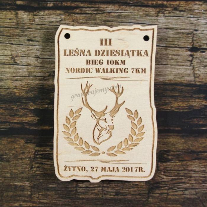 Medal drewniany 202 - leśna dziesiątka nordic walking