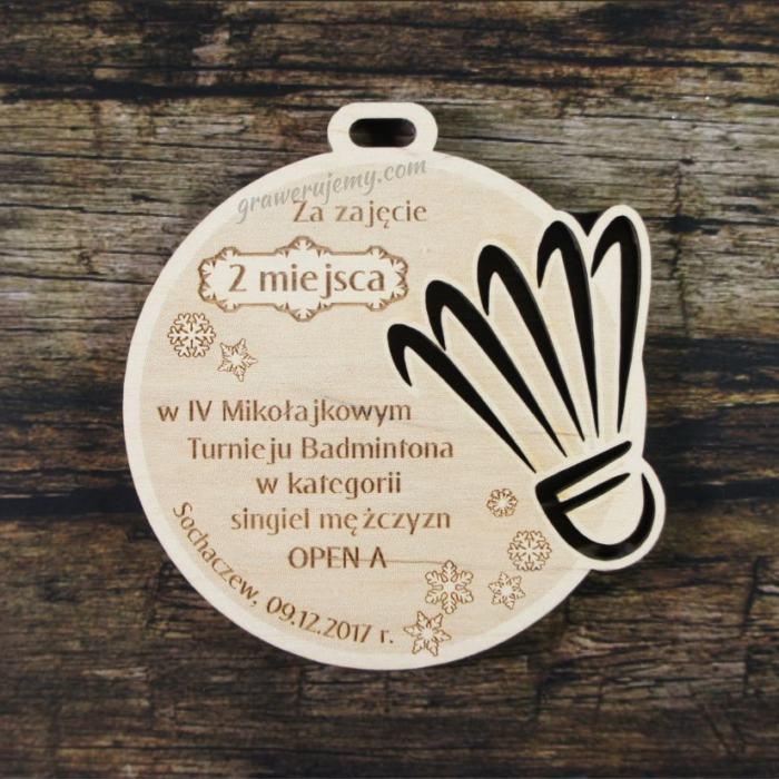 Medal drewniany 214 - Badminton