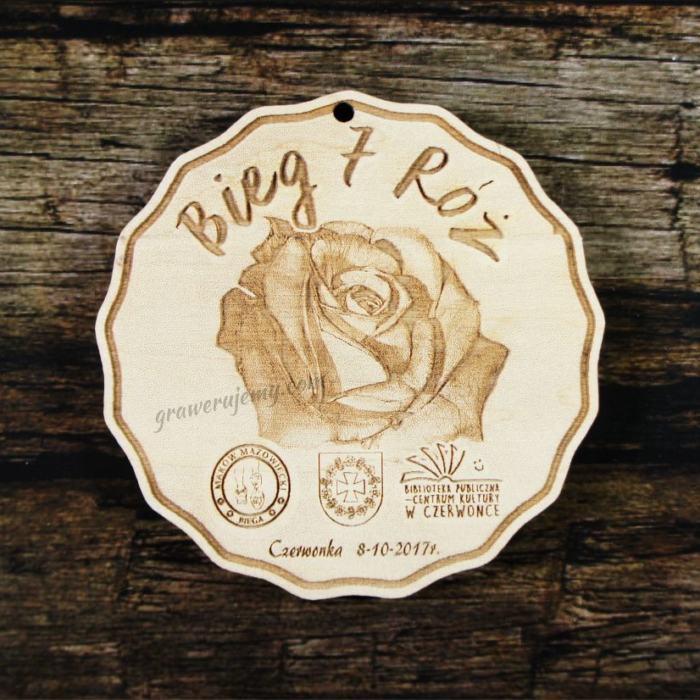 Medal drewniany 218 - róża