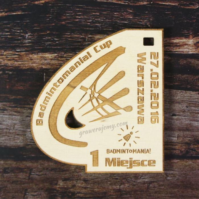 Medal drewniany Badminton
