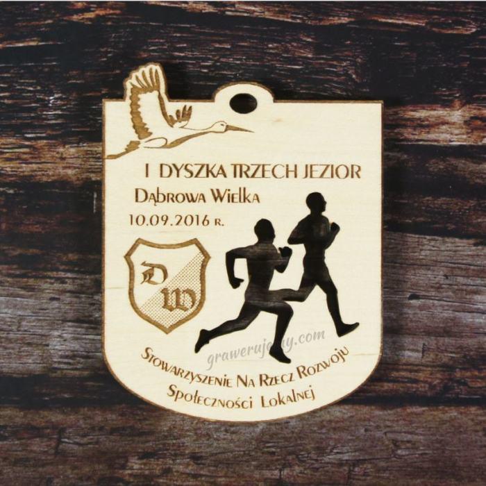 Medal drewniany Bieg Trzech Jezior