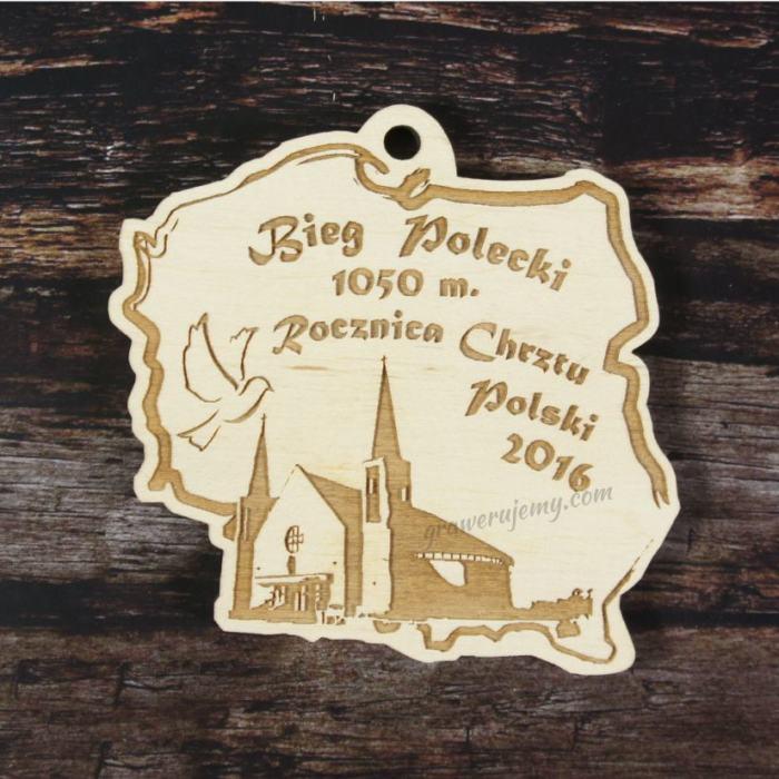 Medal drewniany Rocznica Chrztu Polski