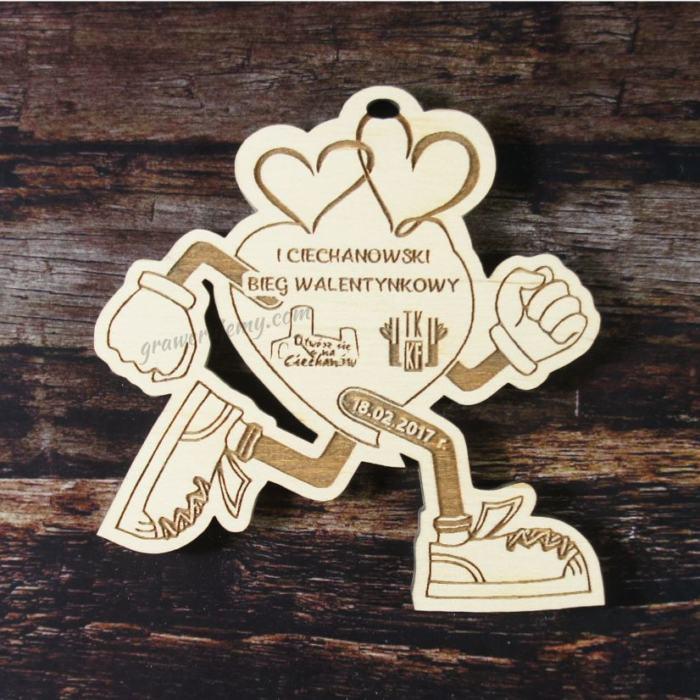 Medal drewniany 87. Bieg walentynkowy