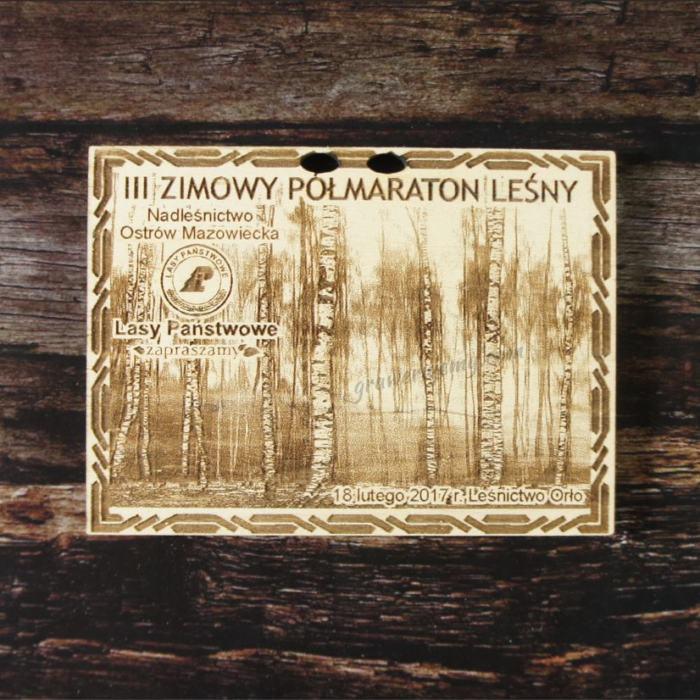 Medal drewniany 90. Zimowy półmaraton leśny
