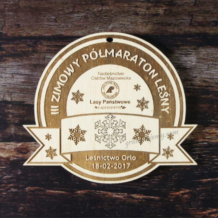 Medal drewninany 91. Zimowy Półmaraon Leśny