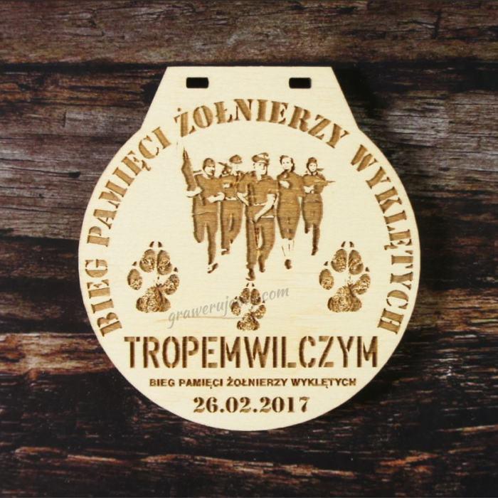 Medal drewniany 92. Bieg żołnierzy wyklętych