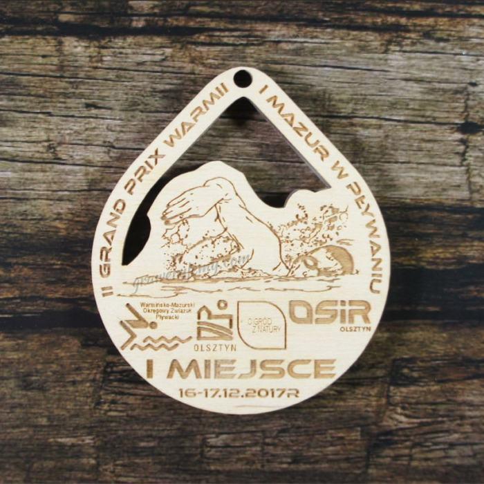 Medal drewniany 242 GP Warmii i Mazur w pływaniu