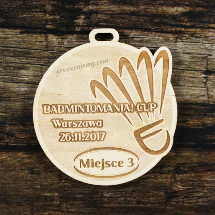 Medal drewniany 247 Badminton
