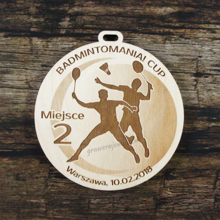 Medal drewniany 248 Badminton