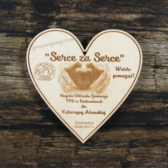 Medal drewniany 254 Serce za serce