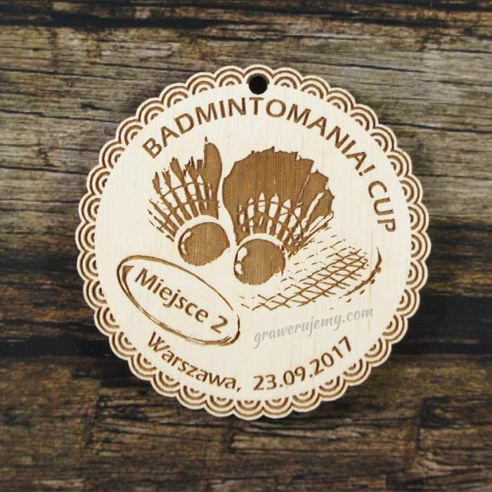 Medal drewniany 264 badminton