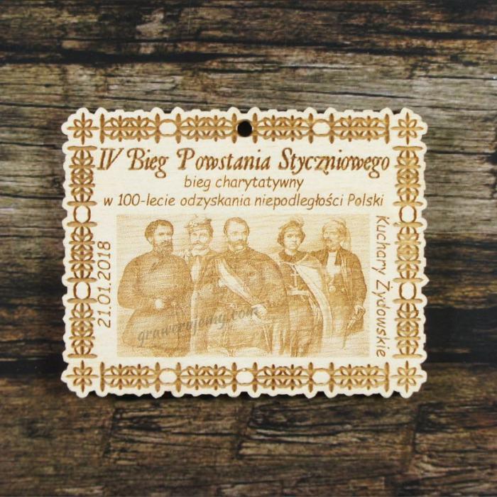 Medal drewniany 282 Bieg Powstania Styczniowego