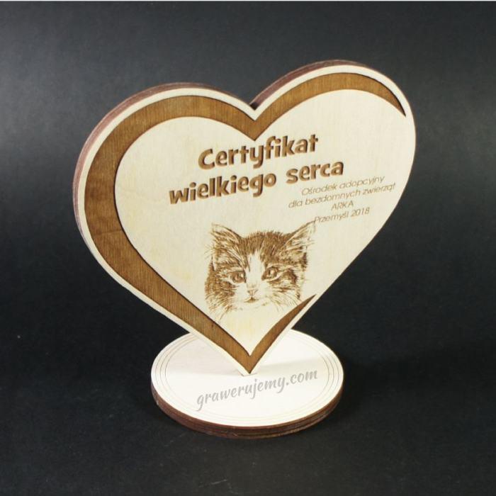 Medal drewniany stojący 12 Certyfikat Wielkiego serca