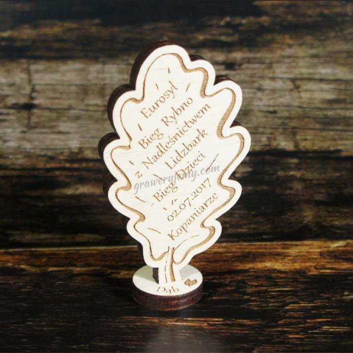 Medal drewniany stojący 13 Bieg dzieci dąb
