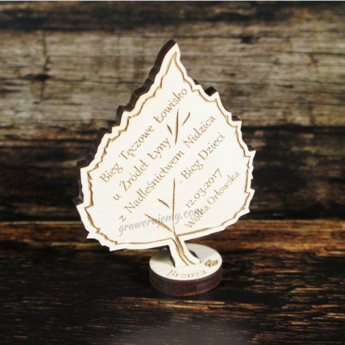 Medal drewniany stojący 18 Bieg dzieci brzoza