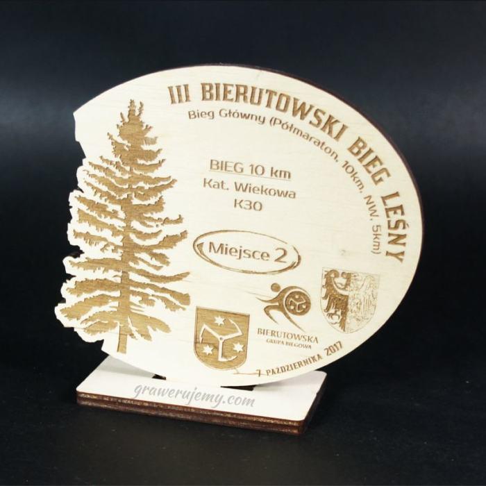 Statuetka Puchar drewniany 103 Bierutowski Bieg Leśny