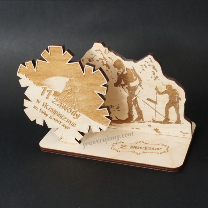 Statuetka Puchar drewniany 74 zawody w skialpinizmie