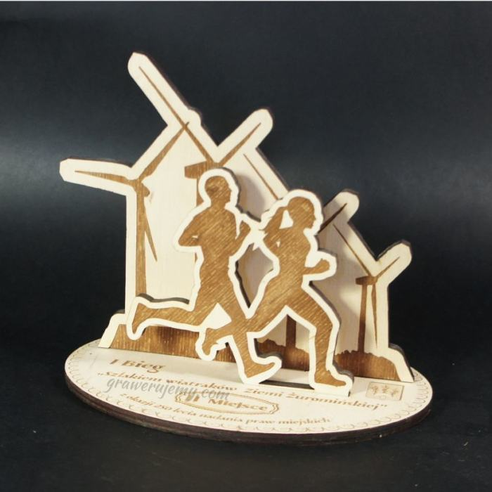 Statuetka Puchar drewniany 91 Bieg szlakiem wiatraków