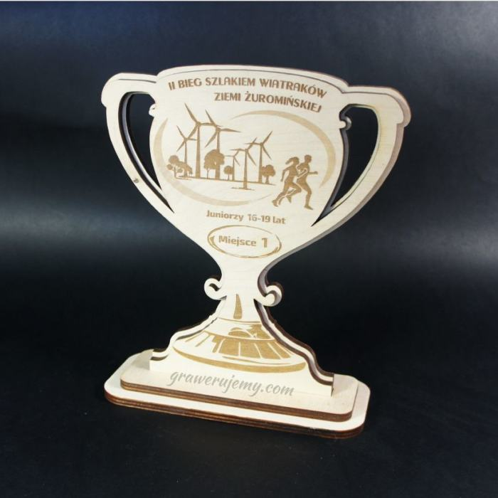 Statuetka Puchar drewniany 94 Bieg szlakiem wiatraków