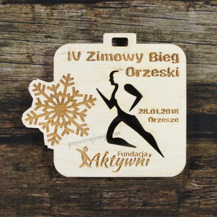Medal drewniany 300 - Zimowy bieg orzeski
