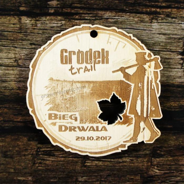 Medal drewniany 314 - Bieg Drwala