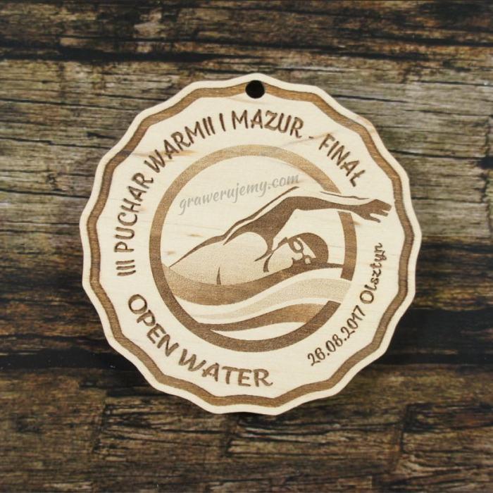 Medal drewniany 321 - Water Pływanie