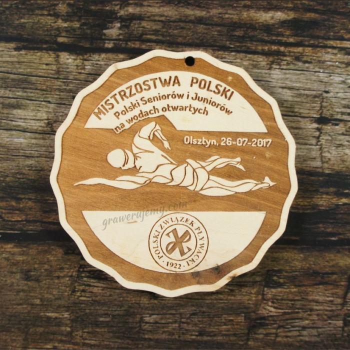 Medal drewniany 333 - Mistrzostwa Polski na wodach otwartych