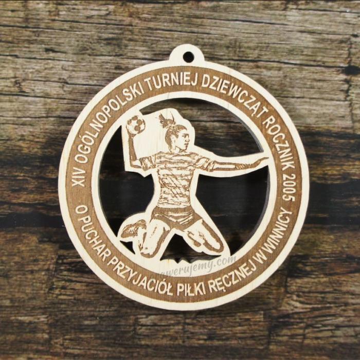 Medal drewniany 335 - Puchar Piłki ręcznej