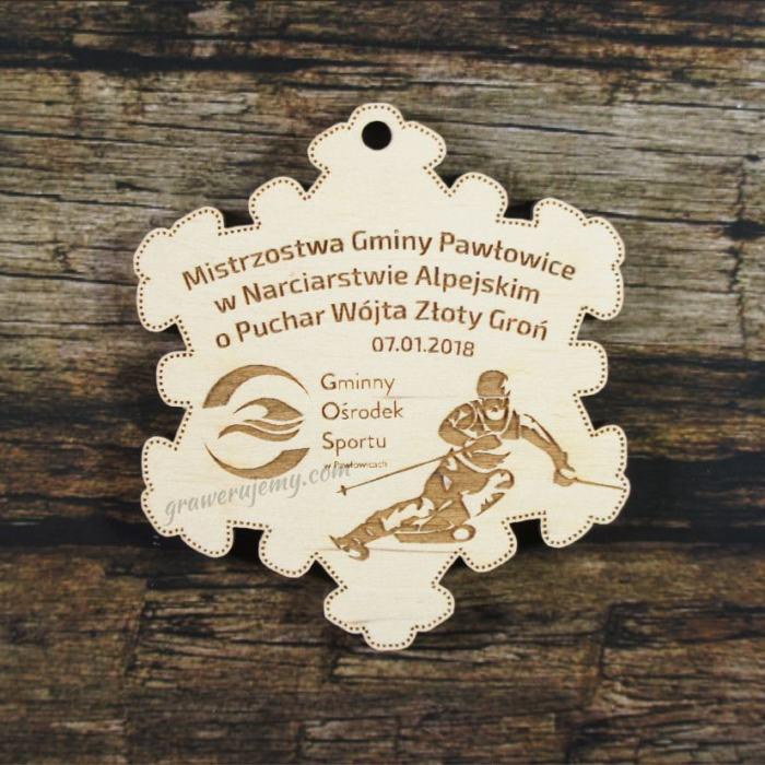 Medal drewniany 228 - śnieżynka