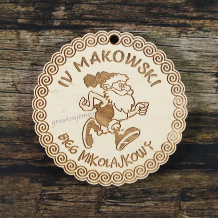 Medal drewniany 235 Bieg Mikołajkowy