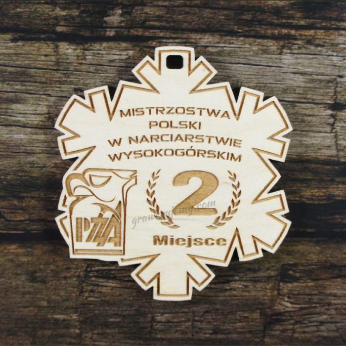 Medal drewniany 278 - Śnieżynka