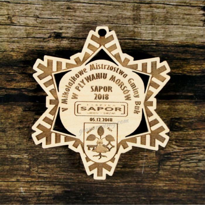 Medal drewniany 429 śnieżynka
