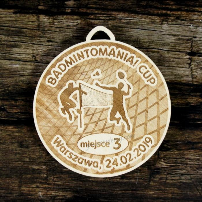 Medal drewniany 434 Badminton
